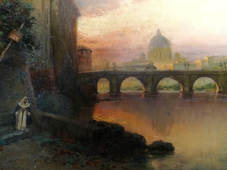 View of Rome, Carl Wuttke Impressionist German Oil on Canvas Landscape Painting For Sale 2