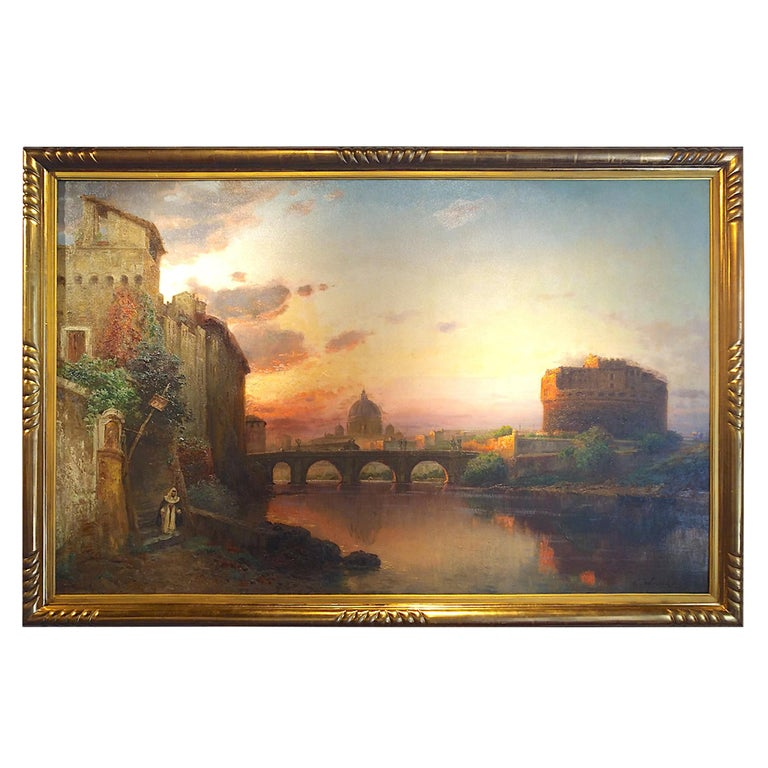 View of Rome, Carl Wuttke Impressionist German Oil on Canvas Landscape Painting For Sale