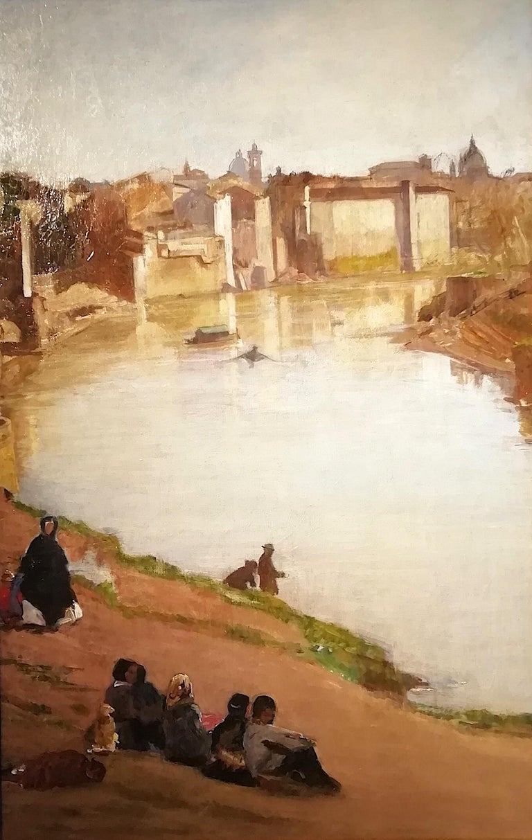 Scipione Vannutelli (Genazzano 1834-Roma 1984) Title: The port of Ripetta with the Toto Boat (Toto was the owner of the boat that carried people from one side of the river to the other) Provenance: Heirs of the Painter, not signed  To speak of