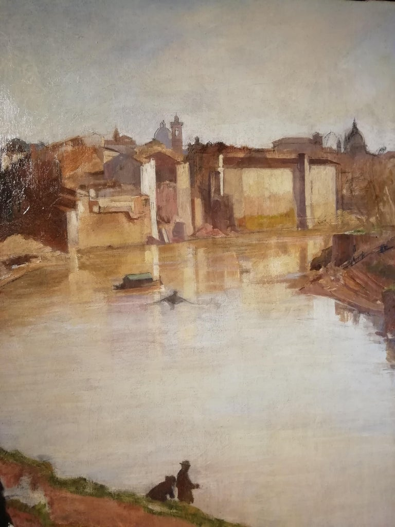 View of Rome with the Tiber River and the Ripetta Harbor, Vannutelli, Italian In Good Condition For Sale In Rome, Italy