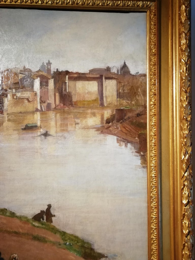 View of Rome with the Tiber River and the Ripetta Harbor, Vannutelli, Italian For Sale 1