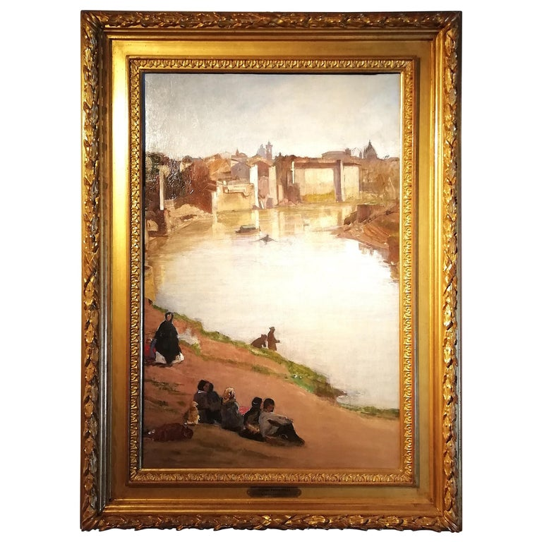 View of Rome with the Tiber River and the Ripetta Harbor, Vannutelli, Italian For Sale