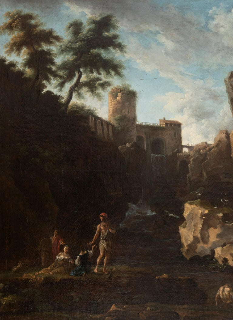 View of the Tivoli waterfall with fisher folk and the Maecenas villa in the hills. Oil on canvas (re-lined) from the 18th century.