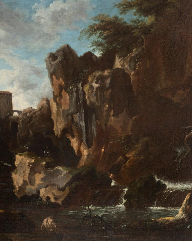 French View of the Tivoli Waterfall, Claude Joseph Vernet's Entourage, 18th Century For Sale
