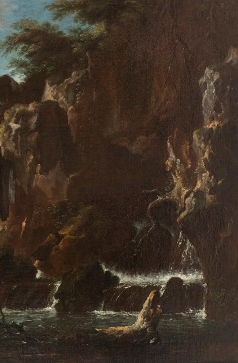 Oiled View of the Tivoli Waterfall, Claude Joseph Vernet's Entourage, 18th Century For Sale