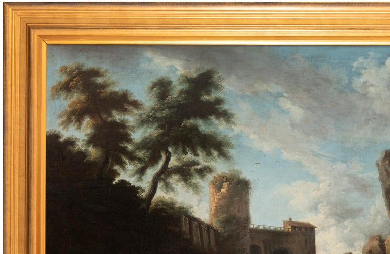 Canvas View of the Tivoli Waterfall, Claude Joseph Vernet's Entourage, 18th Century For Sale