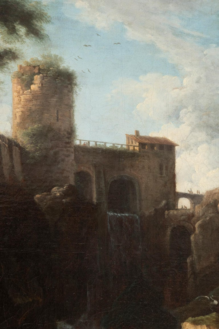 View of the Tivoli Waterfall, Claude Joseph Vernet's Entourage, 18th Century For Sale 1