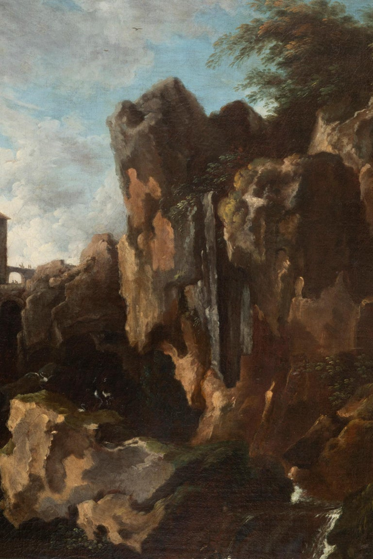View of the Tivoli Waterfall, Claude Joseph Vernet's Entourage, 18th Century For Sale 2