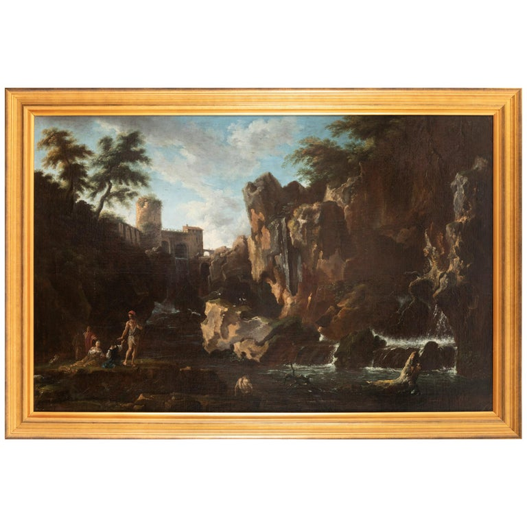 View of the Tivoli Waterfall, Claude Joseph Vernet's Entourage, 18th Century For Sale