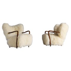 Viggo Boesen 'Attributed' Lounge Chairs, Stained Beech, Lambskin, Brass, 1940s