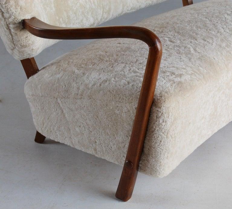 Viggo Boesen 'Attribution', Curved Modernist Sofa, Beech, Sheepskin, 1940s For Sale 5