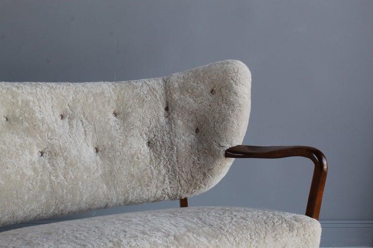 Viggo Boesen 'Attribution', Curved Modernist Sofa, Beech, Sheepskin, 1940s For Sale 6