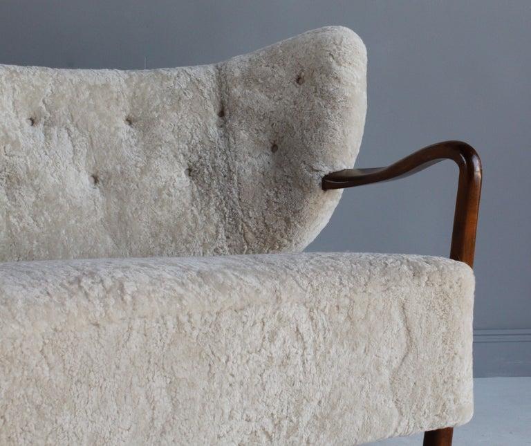 Viggo Boesen 'Attribution', Curved Modernist Sofa, Beech, Sheepskin, 1940s For Sale 8