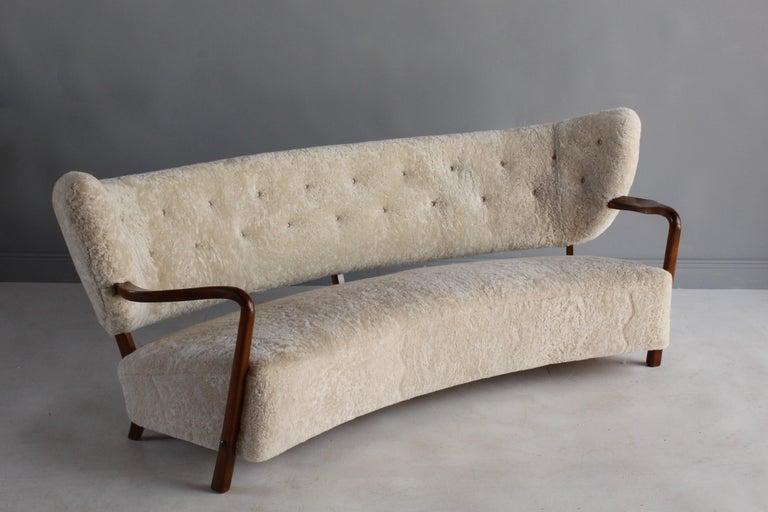 Viggo Boesen 'Attribution', Curved Modernist Sofa, Beech, Sheepskin, 1940s For Sale 10