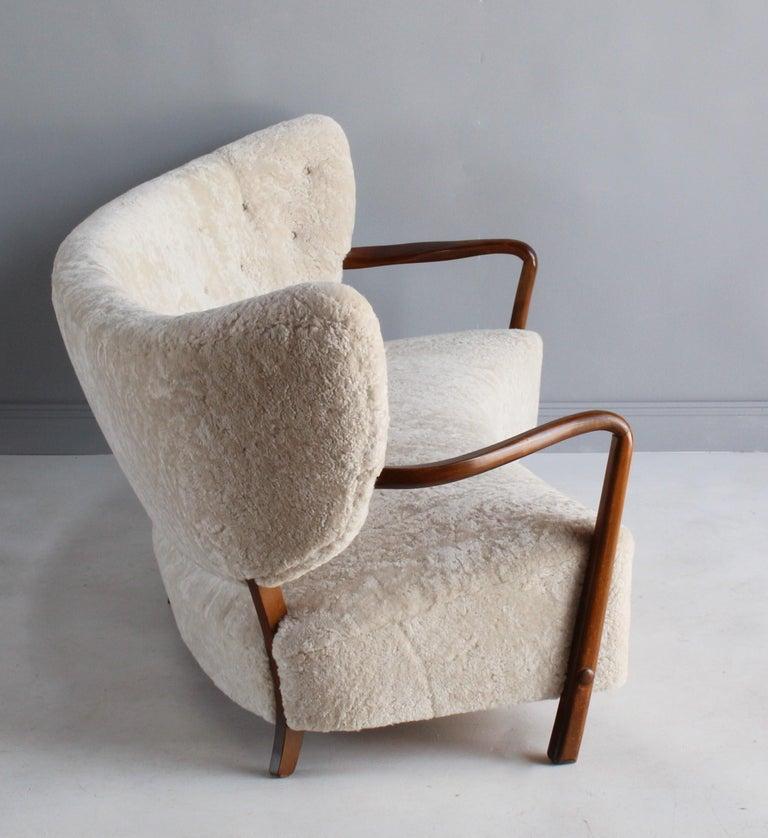 Danish Viggo Boesen 'Attribution', Curved Modernist Sofa, Beech, Sheepskin, 1940s For Sale