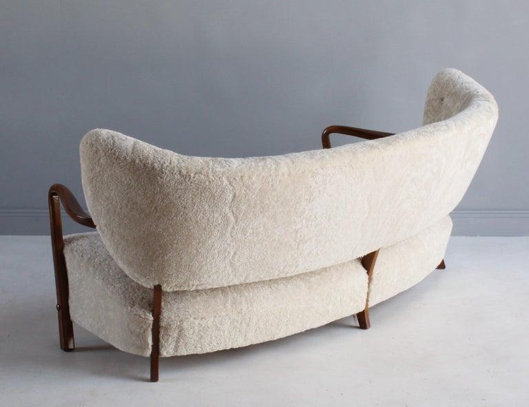 Mid-20th Century Viggo Boesen 'Attribution', Curved Modernist Sofa, Beech, Sheepskin, 1940s For Sale