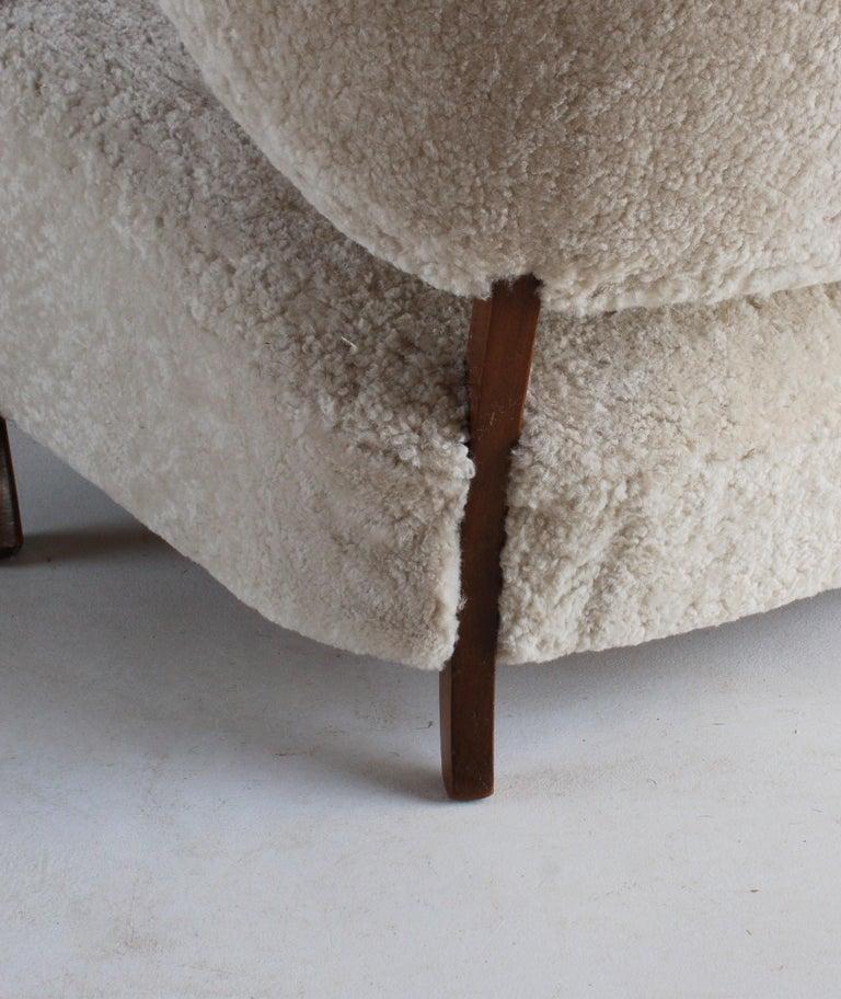 Viggo Boesen 'Attribution', Curved Modernist Sofa, Beech, Sheepskin, 1940s For Sale 3