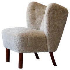 Viggo Boesen 'Attribution' Organic Lounge Chair, Sheepskin, Beech, Denmark