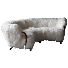 Viggo Boesen 'Attribution' Rare Curved Sofa, Wood White Sheepskin, Denmark 1940s