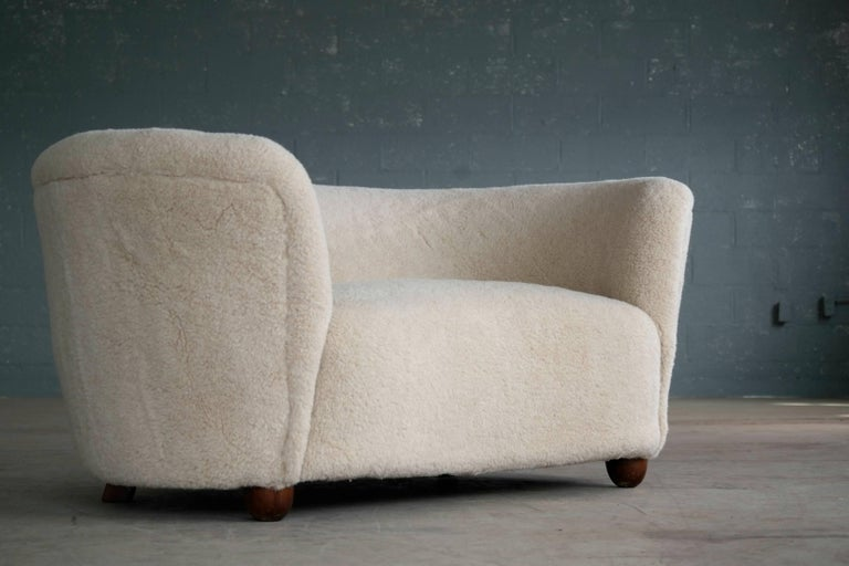 Danish Viggo Boesen Style Banana Shaped Curved Loveseat or Sofa Covered in Lambs, 1940s For Sale