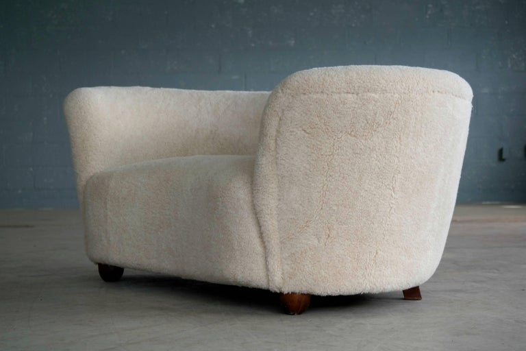 Viggo Boesen Style Banana Shaped Curved Loveseat or Sofa Covered in Lambs, 1940s In Excellent Condition In Bridgeport, CT