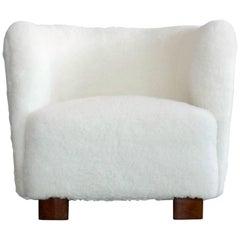 Viggo Boesen Style Lounge Chair Covered in Lambswool by Slagelse Mobelvaerk