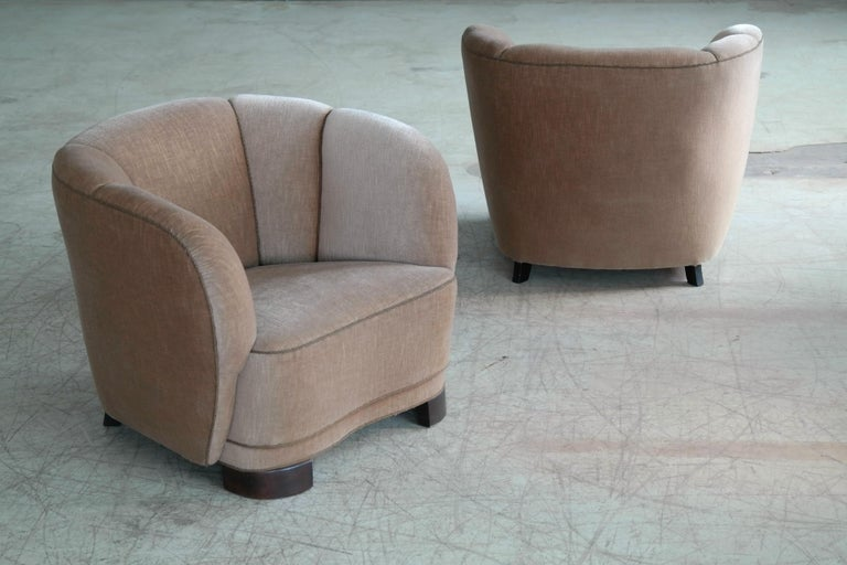 Mid-20th Century Viggo Boesen Style Pair of 1940s Danish Low Club or Lounge Chairs in Velvet For Sale