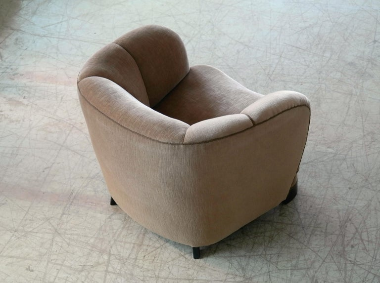 Mohair Viggo Boesen Style Pair of 1940s Danish Low Club or Lounge Chairs in Velvet For Sale