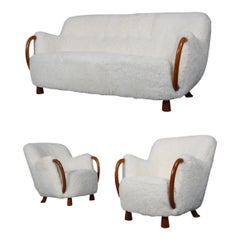 Viggo Boesen Three-Seat Sofa and Two Easy Chairs, Sheepskin, circa 1930