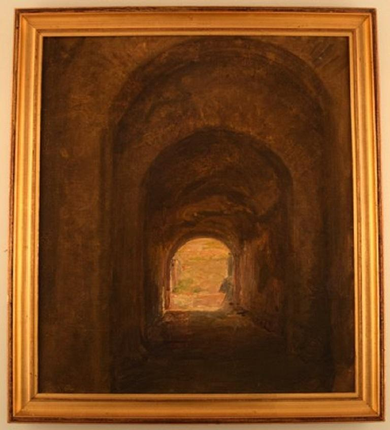 Viggo Johansen, b. Copenhagen 1851, d. 1935. Well listed Danish artist. Entrance to the amphitheatre, Pompeii. Oil on canvas. Signed V. J, Pompeii 1904. Price example: A painting by Viggo Johansen was sold at Bruun Rasmussen, 6 June 2005 for €