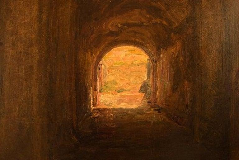 Viggo Johansen, Well Listed Danish Artist, Amphitheatre, Pompeii In Good Condition For Sale In Copenhagen, Denmark