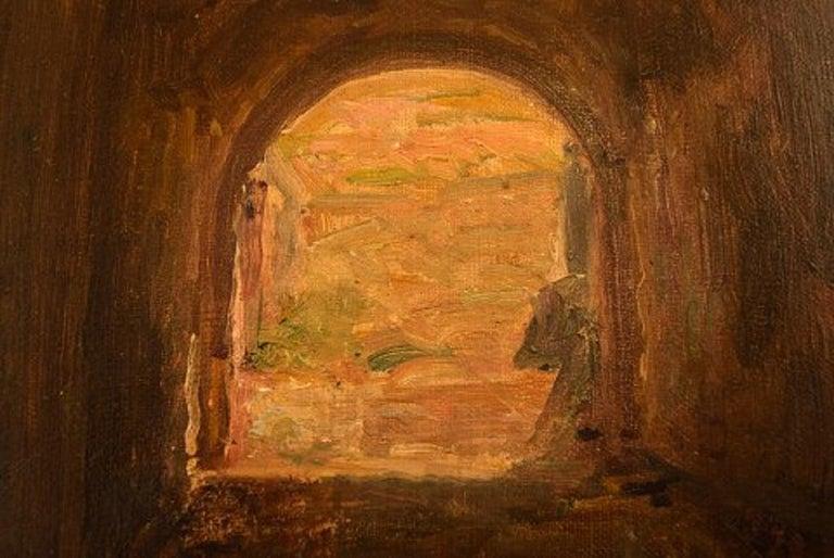 Canvas Viggo Johansen, Well Listed Danish Artist, Amphitheatre, Pompeii For Sale