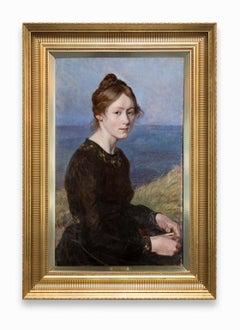 """Benedicte Olrik, Daughter of Henrik Olrik"" Female Portrait, Oil on Linen"