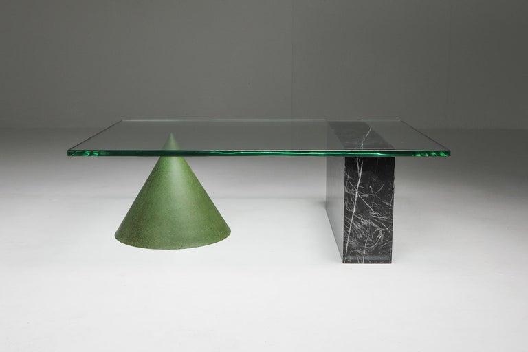 Post-Modern Vignelli Marble and Copper 'Kono' Coffee Table
