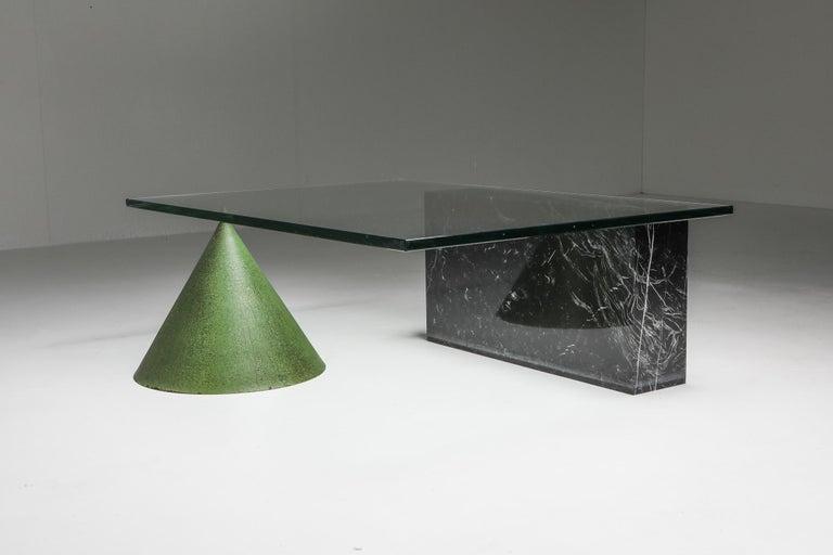Italian Vignelli Marble and Copper 'Kono' Coffee Table