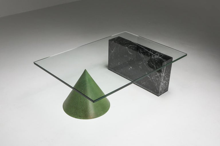 Vignelli Marble and Copper 'Kono' Coffee Table In Good Condition In Antwerp, BE