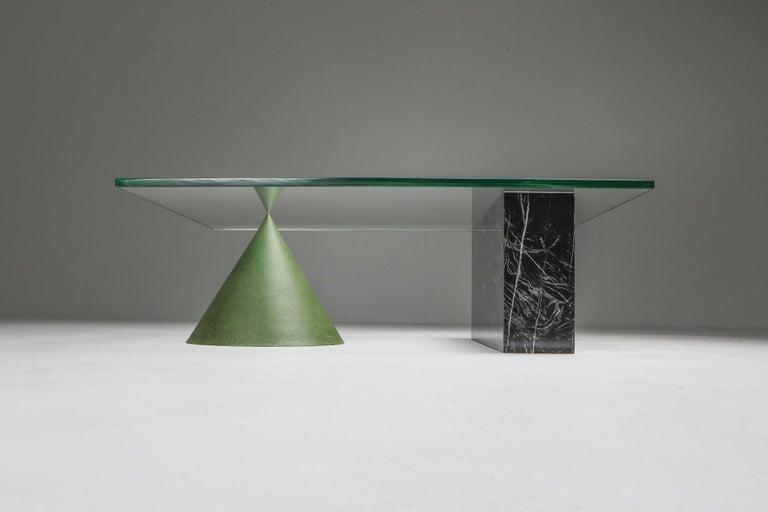 Late 20th Century Vignelli Marble and Copper 'Kono' Coffee Table