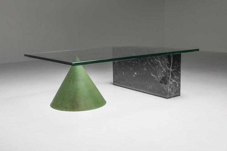 Vignelli Marble and Copper 'Kono' Coffee Table 1
