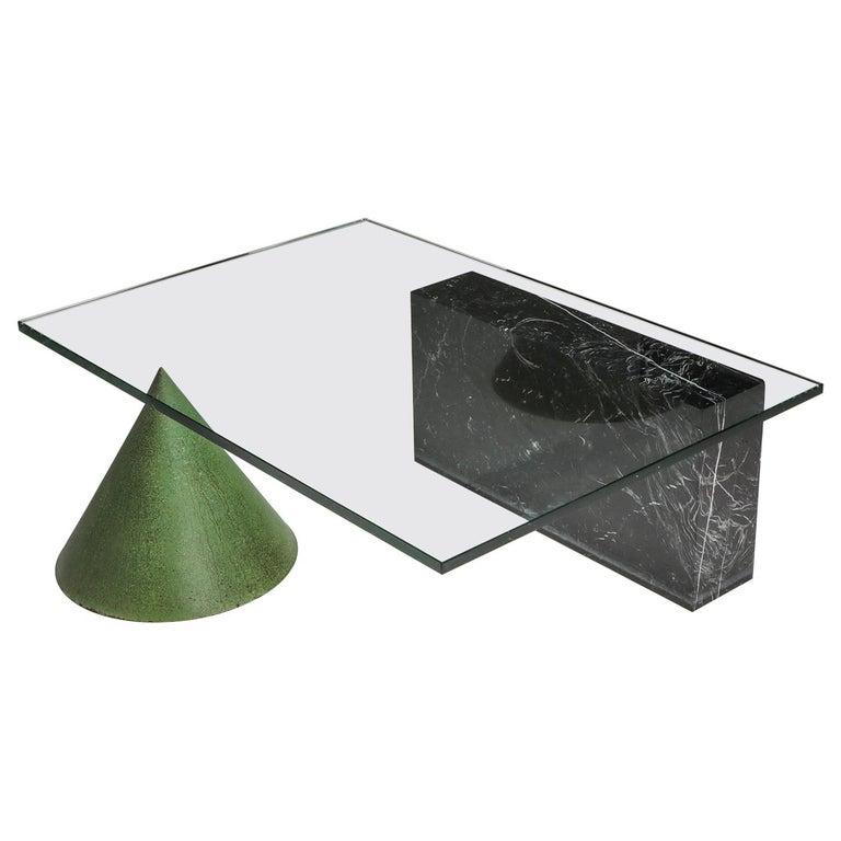 Vignelli Marble and Copper 'Kono' Coffee Table