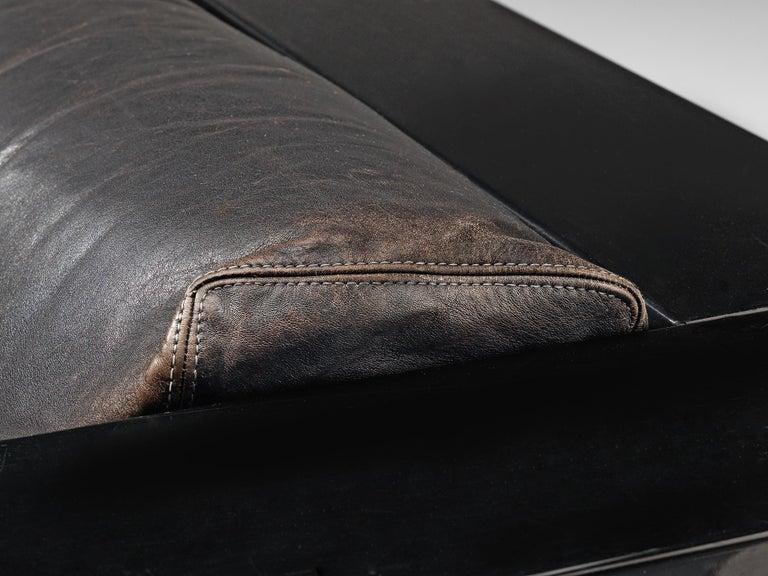 Vignelli Saratoga Large Black Sofa with Black Leather For Sale 4