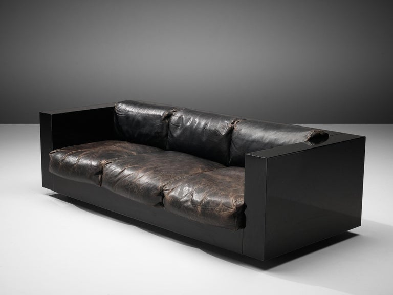 Mid-Century Modern Vignelli Saratoga Large Black Sofa with Black Leather For Sale