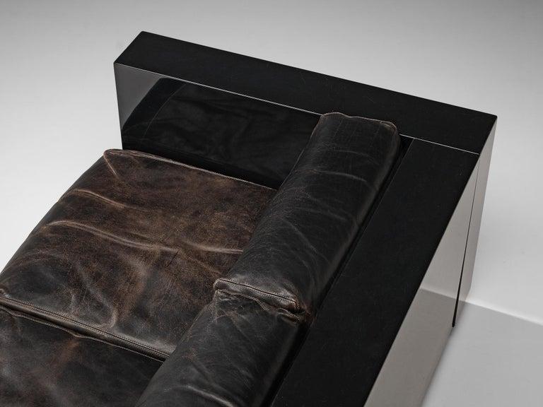 Italian Vignelli Saratoga Large Black Sofa with Black Leather For Sale