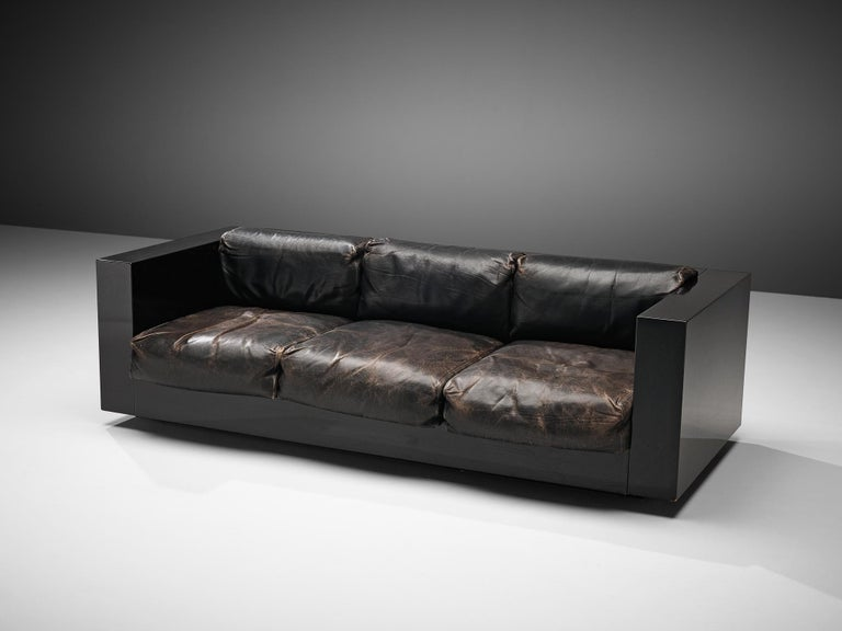 Vignelli Saratoga Large Black Sofa with Black Leather In Good Condition For Sale In Waalwijk, NL