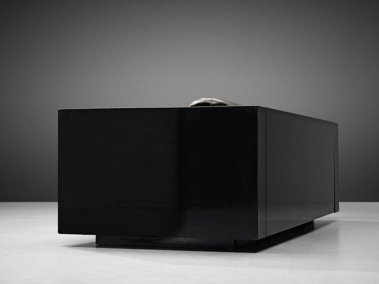 Mid-20th Century Vignelli Saratoga Large Black Sofa with Black Leather For Sale