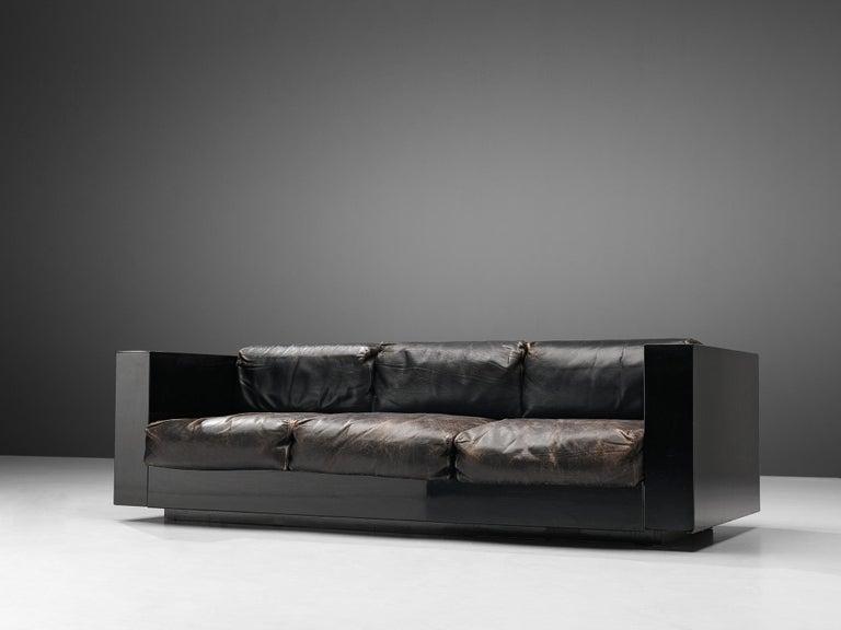 Vignelli Saratoga Large Black Sofa with Black Leather For Sale 1