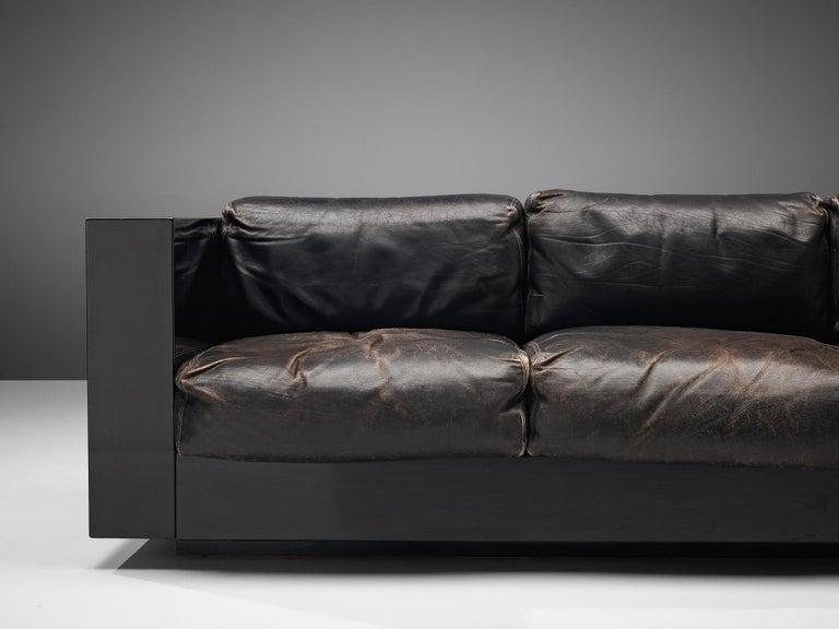 Vignelli Saratoga Large Black Sofa with Black Leather For Sale 2
