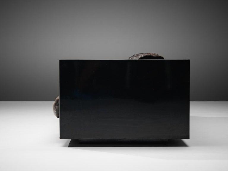 Vignelli Saratoga Large Black Sofa with Black Leather For Sale 3