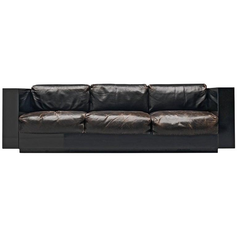 Vignelli Saratoga Large Black Sofa with Black Leather For Sale