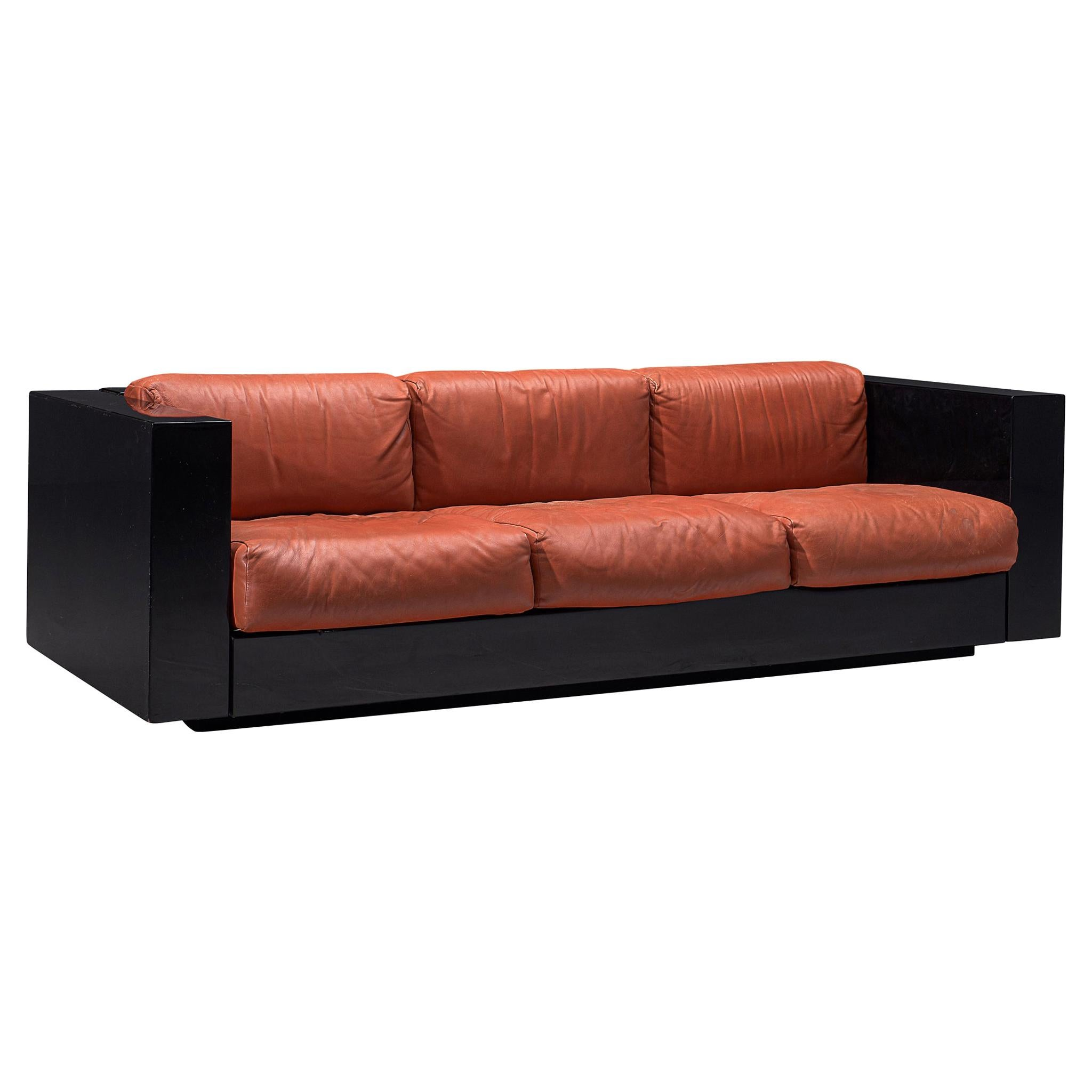 Vignelli Saratoga Large Black Sofa with Red Leather