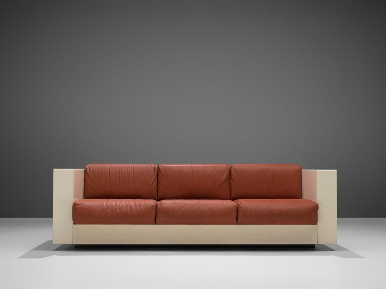 Italian Vignelli 'Saratoga' Large White Sofa with Red Leather